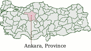 Turkey map with focus on Ankara